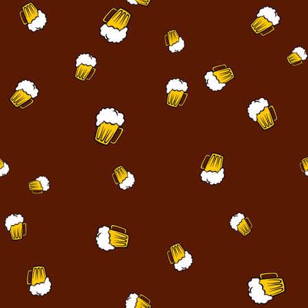 Mug beer pattern seamless. Vector illustration. Brown background. Illustration
