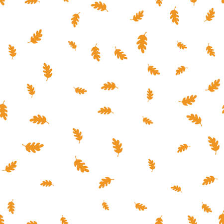 Orange oak leaf pattern seamless.  illustration. Isolated white background.