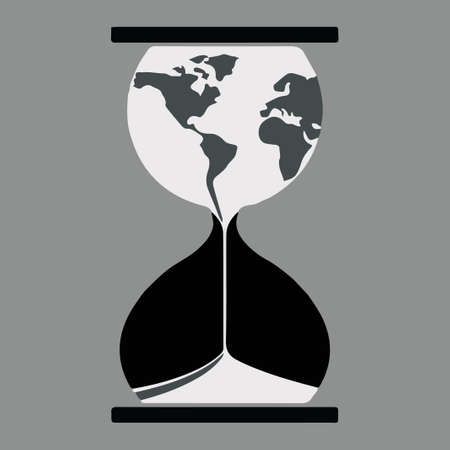 Planet Earth flowing through hourglass.  illustartion. Ecological problems. 스톡 콘텐츠