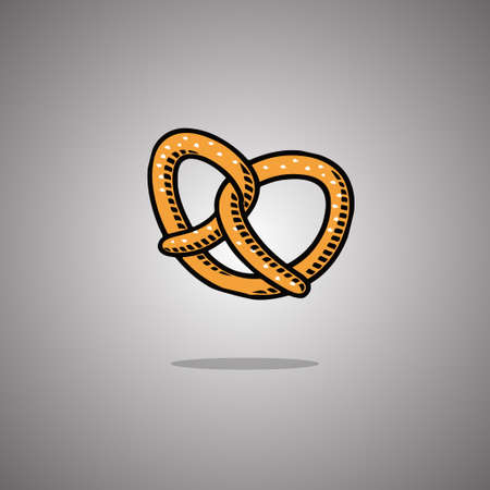 Pretzel. Vector illustration. Gray background with gradient