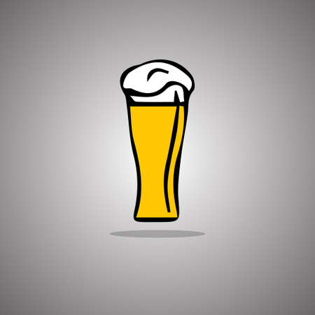 Pint beer. Vector illustration. Gray background with gradient