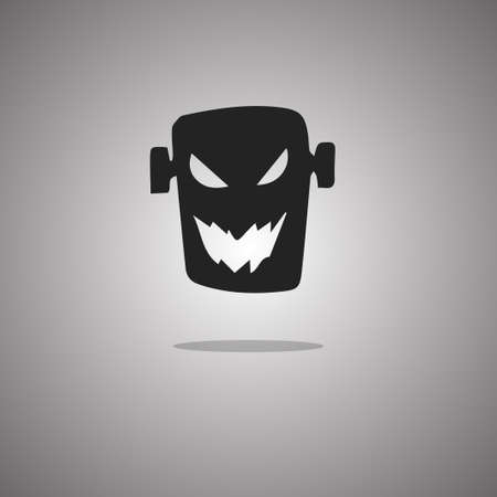 Head zombie Halloween. Vector illustration. Gray background with gradient.