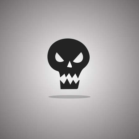 Evil skull Halloween. Vector illustration. Gray background with gradient.