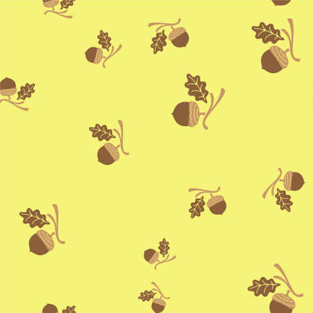Acorn and leaf oak branch seamless pattern. Vector illustration. Yellow background.