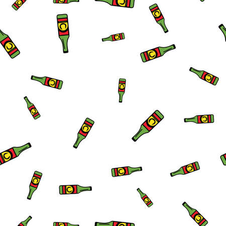 Bottle beer pattern seamless.  illustration. Isolated white background. Stock Photo