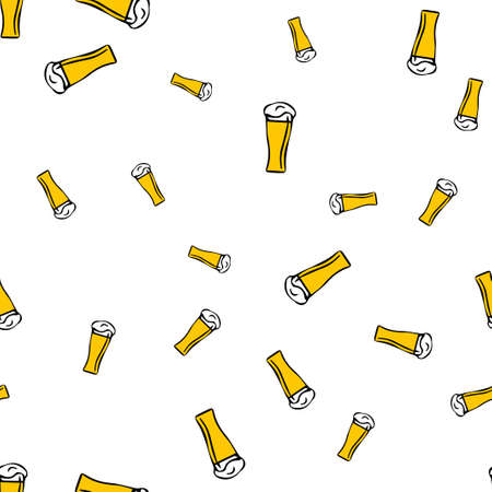 Glass beer pattern seamless.  illustration. Isolated white background.