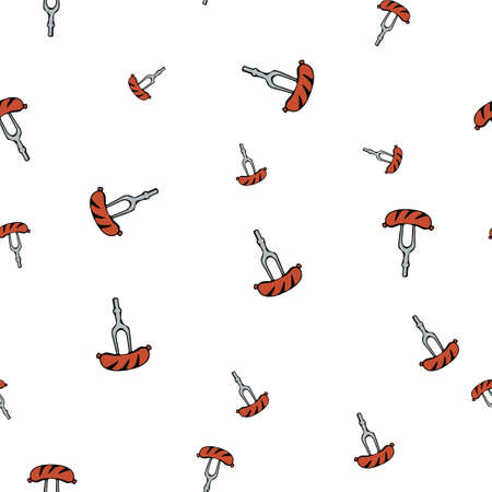 Sausage fork pattern seamless.  illustration. Isolated white background. Stock Photo