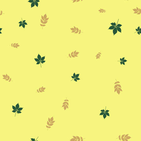 Ash and chestnut leaves pattern seamless. Vector illustration. Yellow background.