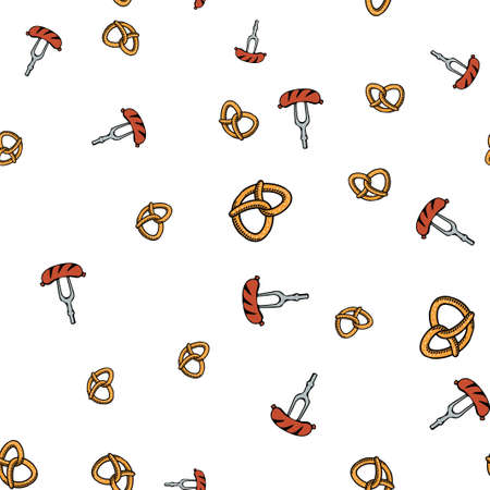 Pretzel and sausage pattern seamless.  illustration. Isolated white background.