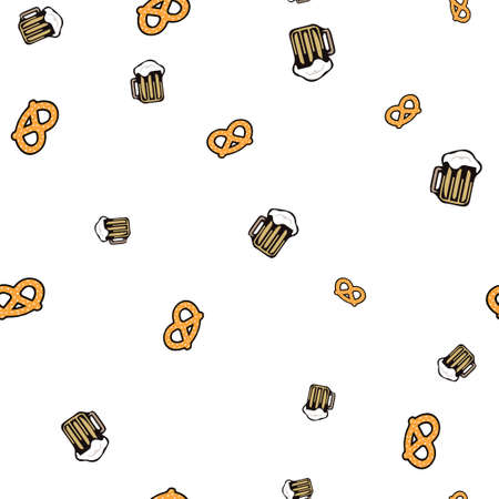 Beer and bretzel pattern seamless.  illustration. Isolated white background.