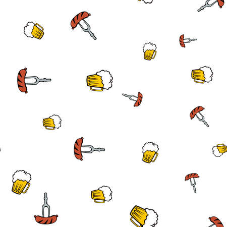 Beer and frankfurter pattern seamless.  illustration. Isolated white background.
