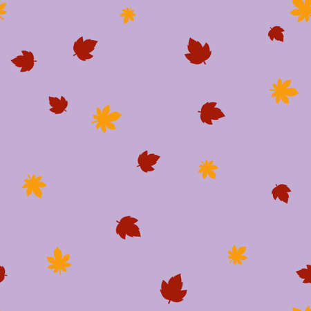 Maple and chestnut leaves pattern seamless. Vector illustration. Purple background. Ilustração
