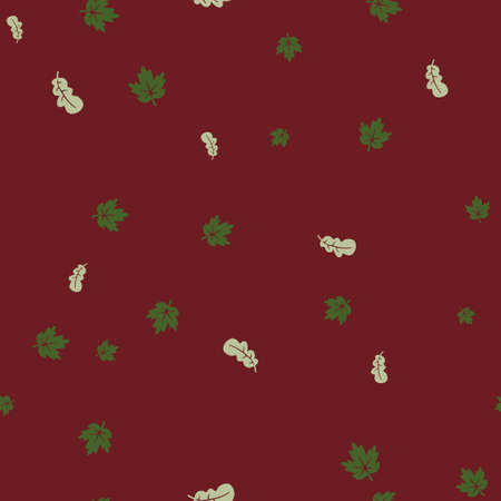 Maple and oak leaf green pattern seamless. Vector illustration. Red background. Vettoriali