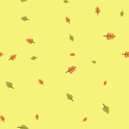 Oak and birch leaves pattern seamless. Vector illustration. Yellow background.