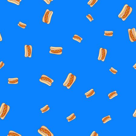 Hot dog seamless patter.  illustration. Light blue background.