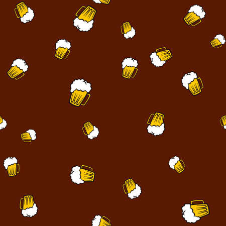Mug beer pattern seamless.  illustration. Brown background. Stock Photo