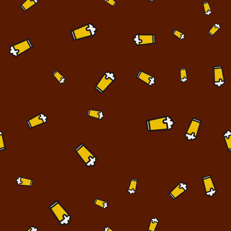 Glass beer seamless pattern.  illustration. Brown background.