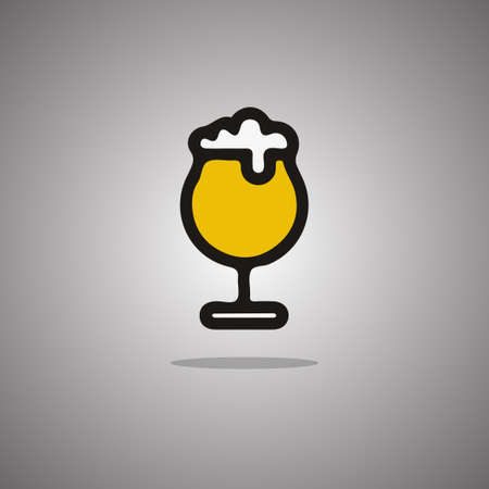 Wineglass beer.  illustration. Gray background with gradient