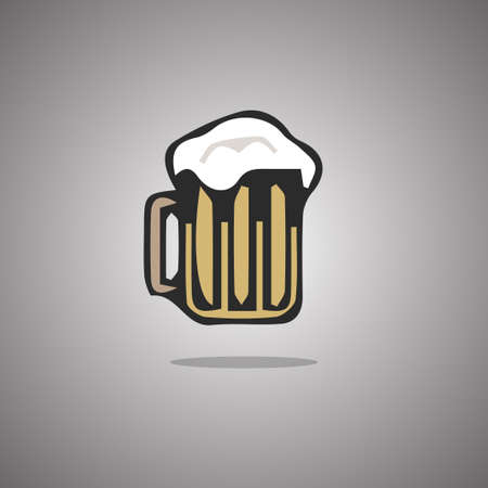 Tankard beer.  illustration. Gray background with gradient Stock Photo