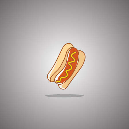 Hot dog.  illustration. Gray background with gradient Stok Fotoğraf