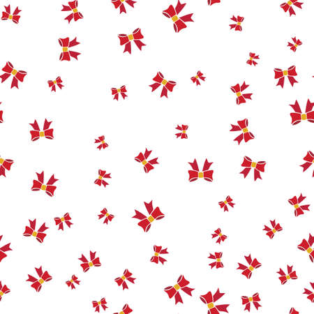 Red bows seamless pattern. Isolated on a white background. Vector illustration. Иллюстрация