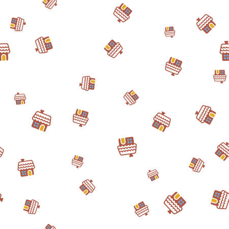 Gingerbread house seamless pattern. Isolated on a white background. Vector illustration.