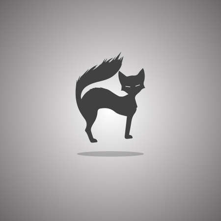 Lady-cat silhouette.  illustration. Isolated white background.