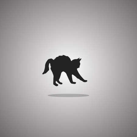 Cat disheveled silhouette.  illustration. Isolated white background. Stock fotó