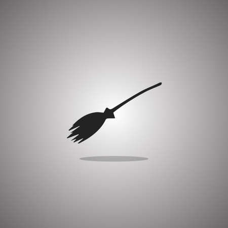Broom witch Halloween.  illustration. Gray background with gradient.