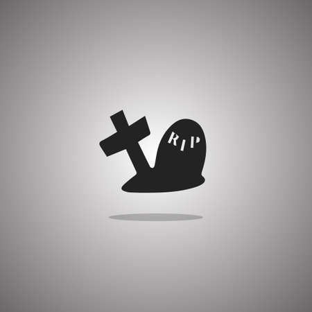 Grave Halloween.  illustration. Gray background with gradient.