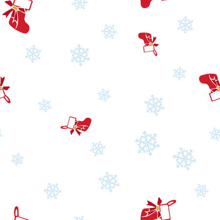 Red Christmas sock and snowflake seamless pattern. Isolated on a white background. Vector illustration.