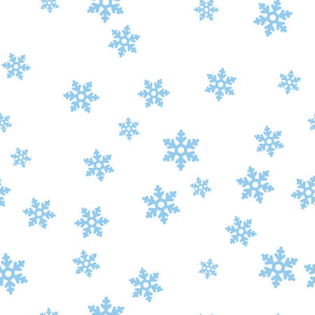 Blue snowflakes seamless pattern. Isolated on a white background.  illustration.