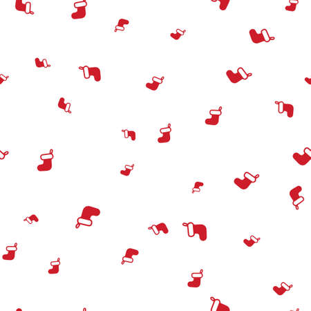 Red Christmas sock seamless pattern. Isolated on a white background.  illustration.
