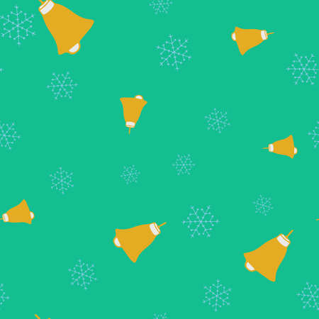 Golden bells and snowflake seamless pattern. Turquoise background. Vector illustration.