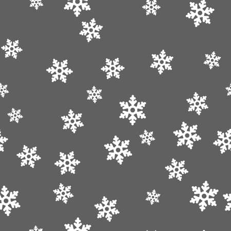 White snowflakes seamless pattern. Gray background.  illustration.