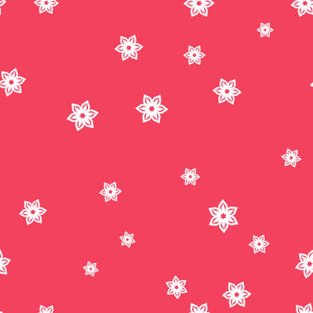 White snowflakes seamless pattern. Pink background.  illustration.