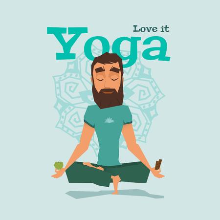 manzana caricatura: Azul Yoga plantean ilustraci�n vectorial de habilidad