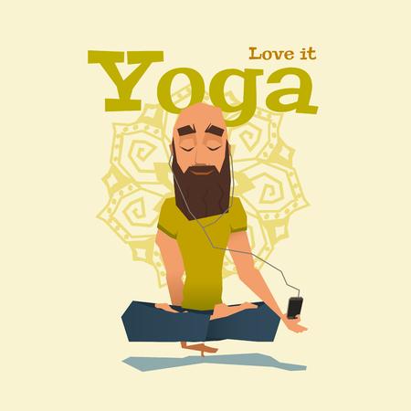 headphone: Yellow Yoga pose skill vector illustration