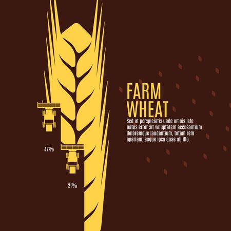 Farm ilustracji wektorowych pszenicy