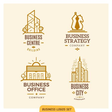 logotypes: Line business logotypes set on the bright background