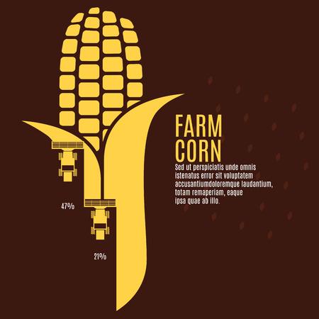 mazorca de maiz: Granja ilustración vectorial de maíz Vectores
