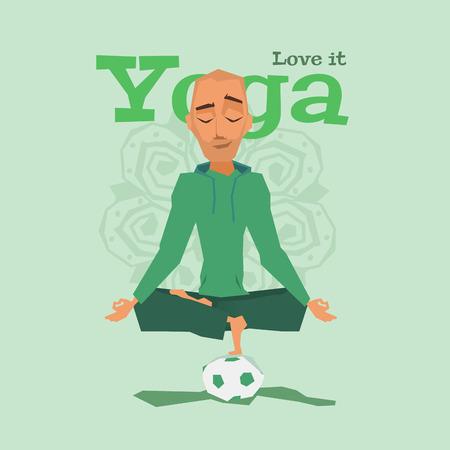 meditation man: Green Yoga pose skill vector illustration