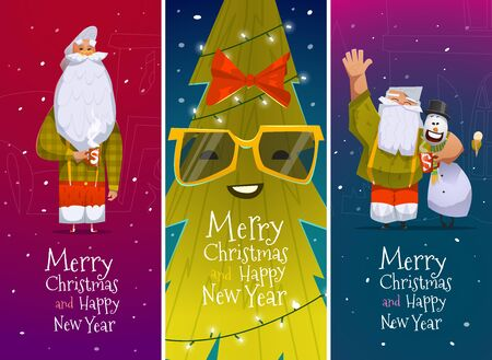merry: Merry Christmas and Happy New Year cards with Santa Claus Illustration