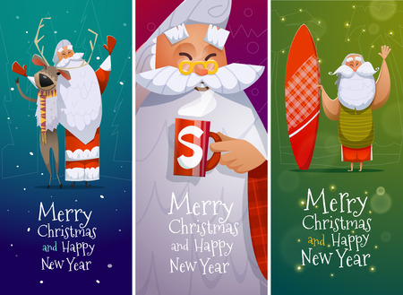 Merry Christmas and Happy New Year cards with Santa Claus Illustration