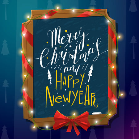 writting: Merry Christmas and Happy New Year card