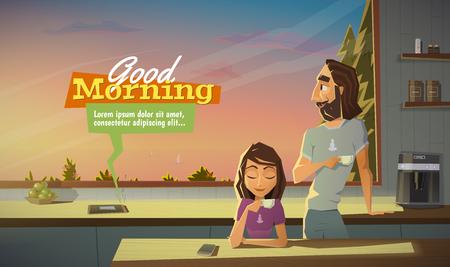 despertarse: Buenos días, tomar un café con la familia. Vectores