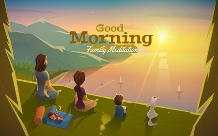 spiaggia: Buon giorno, lascia la meditazione con la famiglia. Vettoriali