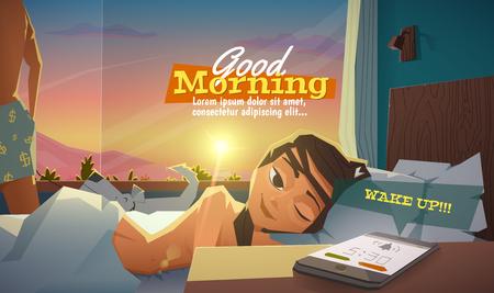 nackter junge: Guten Morgen, Frau aufwachen. Illustration