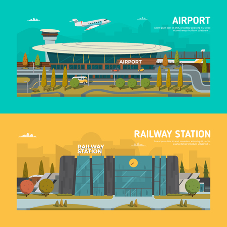 airplane ticket: Railway station and airport. Flat design.