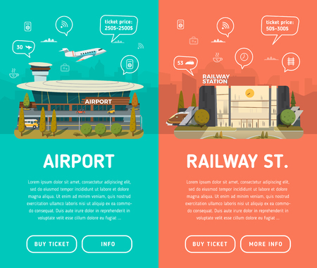train ticket: Two banners. Airport with icons, text, buttons and background. Railway station with information. Illustration